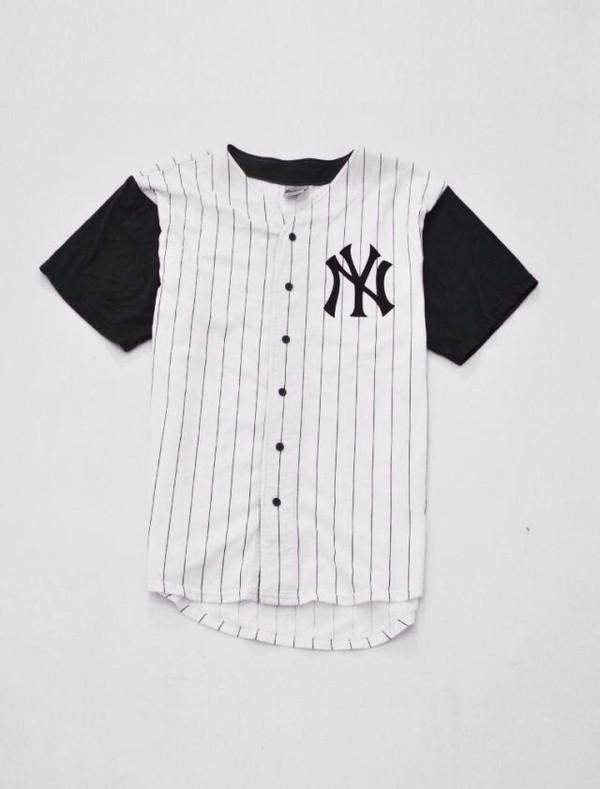 shirt baseball jersey jersey black white stripes t-shirt hipster tumblr baseball baseball tee white dress