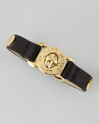 Marc by Marc Jacobs Bolt Studded Leather Bracelet, Black - Neiman Marcus
