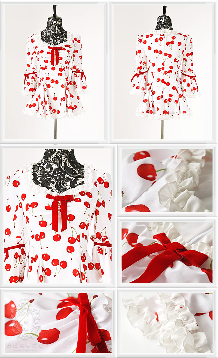 New 2013 Free shipping Red cherry  white print expansion bottom romantic shirt  clothes women casual dress on Aliexpress.com