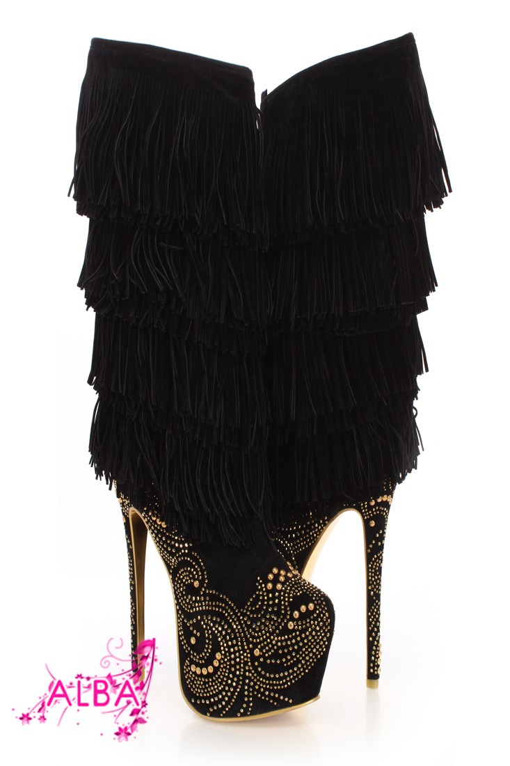 Black Gold Rhinestone Fringe Mid Calf Boots @ Amiclubwear Boots Catalog:women's winter boots,leather thigh high boots,black platform knee high boots,over the knee boots,Go Go boots,cowgirl boots,gladiator boots,womens dress boots,skirt boots,pink boots,fa