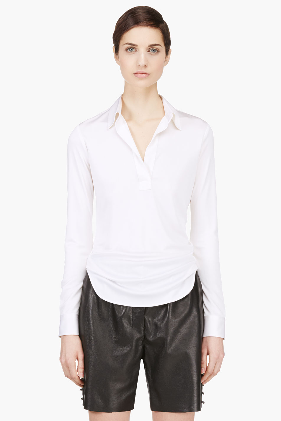 marc jacobs ivory silk draping blouse