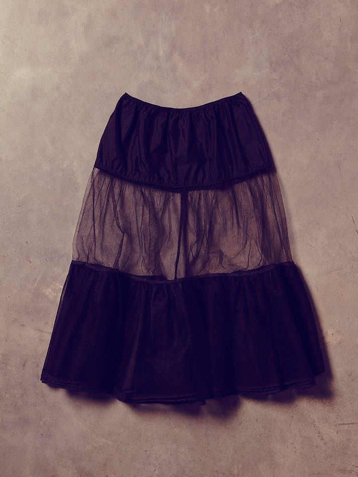 free people womens vintage black sheer tulle skirt