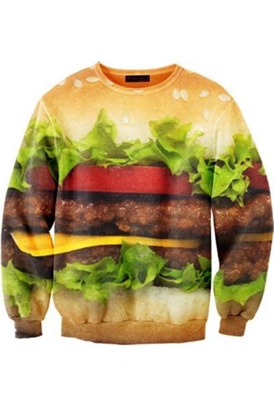 Delicious Hamburger Graphic Sweatshirt - OASAP.com
