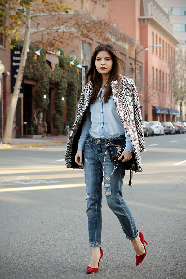 fake leather shirt jeans coat jewels shoes