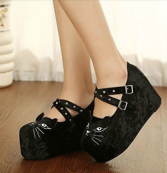 New Buckle Womens Lady Shoes Cute Cat Face Wedge Heel Platform Pumps | eBay