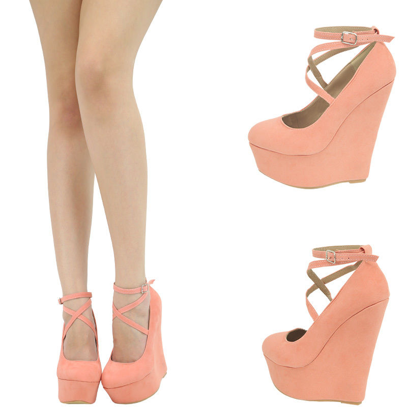 Peach Criss Cross Mary Jane Ankle Strap Wedge Heel Platform Pump Sandal Shoes 11 | eBay