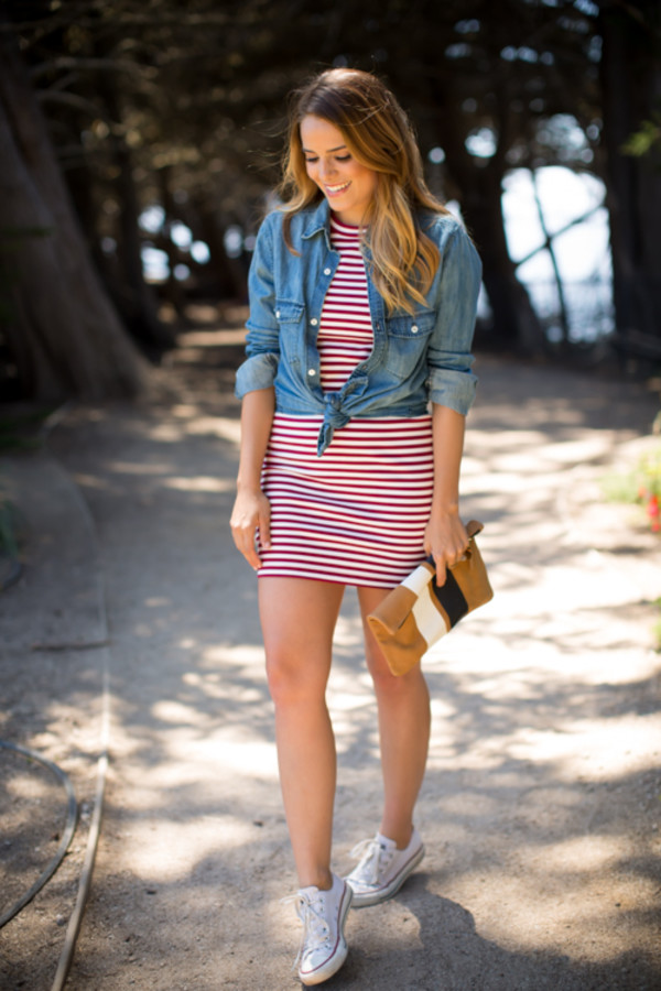gal meets glam shoes bag dress red dress stripes t-shirt dress