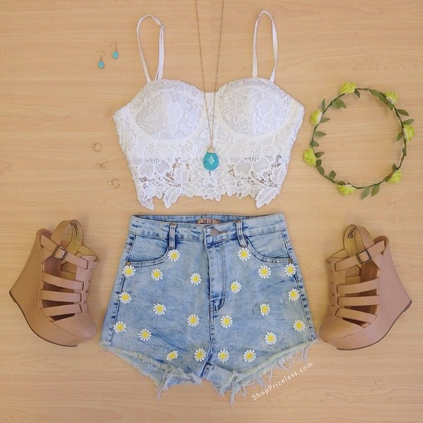 tank top crop tops crochet crop tops embrodering cute white shorts shoes hair accessory denim shorts jeans blouse tank too