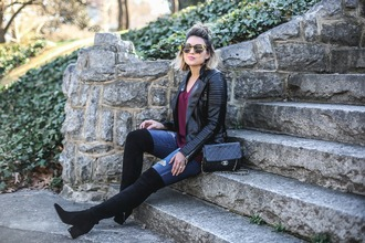 life & messy hair blogger shoes sunglasses bag jeans thigh high boots boots black leather jacket black boots winter outfits