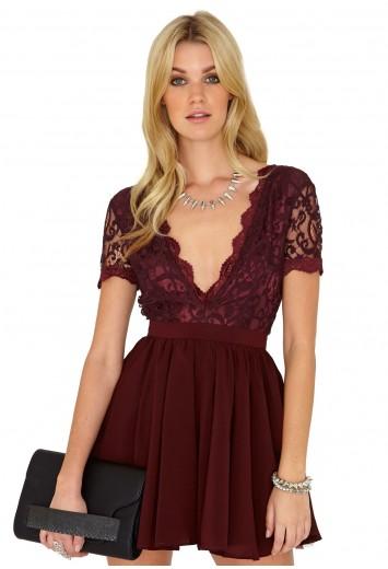 Aleena Lace Plunge Neck Puffball Dress - Dresses - Mini Dresses - Missguided
