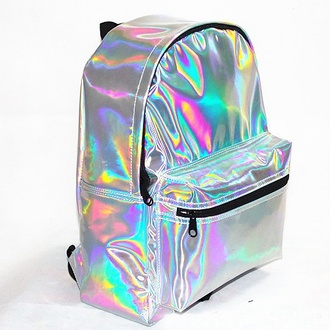 top backpack bag holographic cyber metallica shiny metallic bookbag silver holograhic backpack holographic bag rucksack 90s style alien space trendy teenagers back to school tumblr metallic hipster cool perfecto wow new year's eve kawaii girly girly outfits tumblr