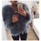 Hepburn - ostrich feather coat - smokey grey - olive & lile