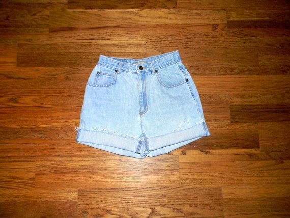 Vintage Denim Cut Offs - Vintage High Waisted 90s Light Wash Blue Jean Shorts - Cut Off/Frayed/Distressed Liz Claiborne Shorts - Size 5/6 on Wanelo