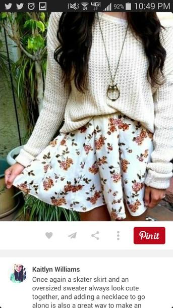 cardigan floral skirt owl necklace