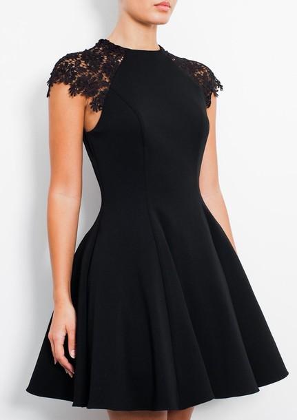 dress black short lace dress lace shoulders black dress skater dress little black dress mini dress party dress