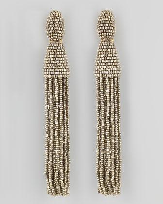 Oscar de la Renta Beaded Long Tassel Earrings, Champagne - Neiman Marcus