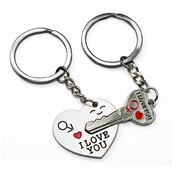 "Arrow ""I Love YOU"" Heart KEY Couple Pair Chain Ring KEY Ring Lover Keyring | eBay"