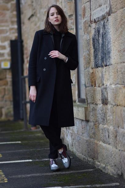 shot from the street blogger black coat derbies pants sweater jacket coat