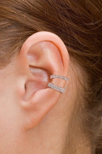 jewels ear cuff ear cuff bling diamonds pave ear piercings hoop earrings