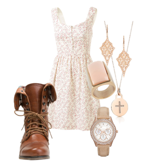 dress vintage white floral pink sleeved shoes