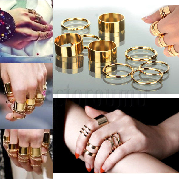 Gold Plain Finger Ring Set 9 Pieces Cool Punk Best Gift | eBay