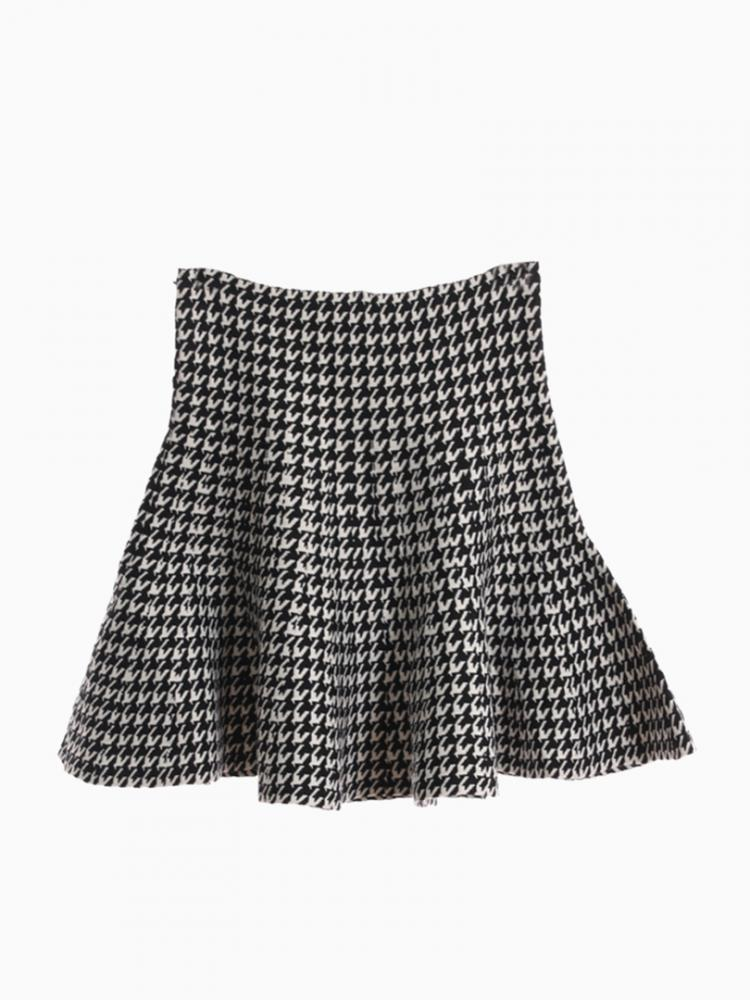 Houndstooth Flare Knitted Skirt | Choies