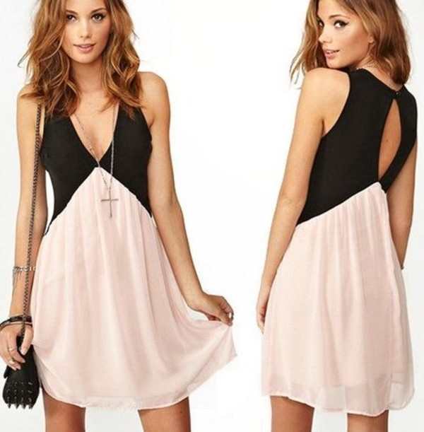 dress black rose pink dress bag babydoll dress pink v neck pink and black black dress