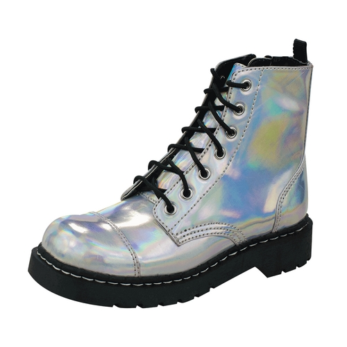HowCool.com - T.U.K. Shoes T2206 - $78.00 - Iridescent Ankle High Anarchic Combat Boots