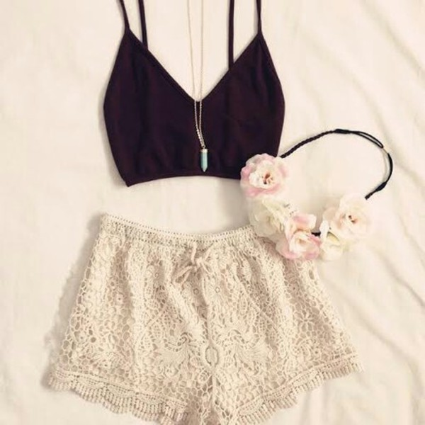 lace shorts white shorts black top necklace hair band flower crown outfit outfit