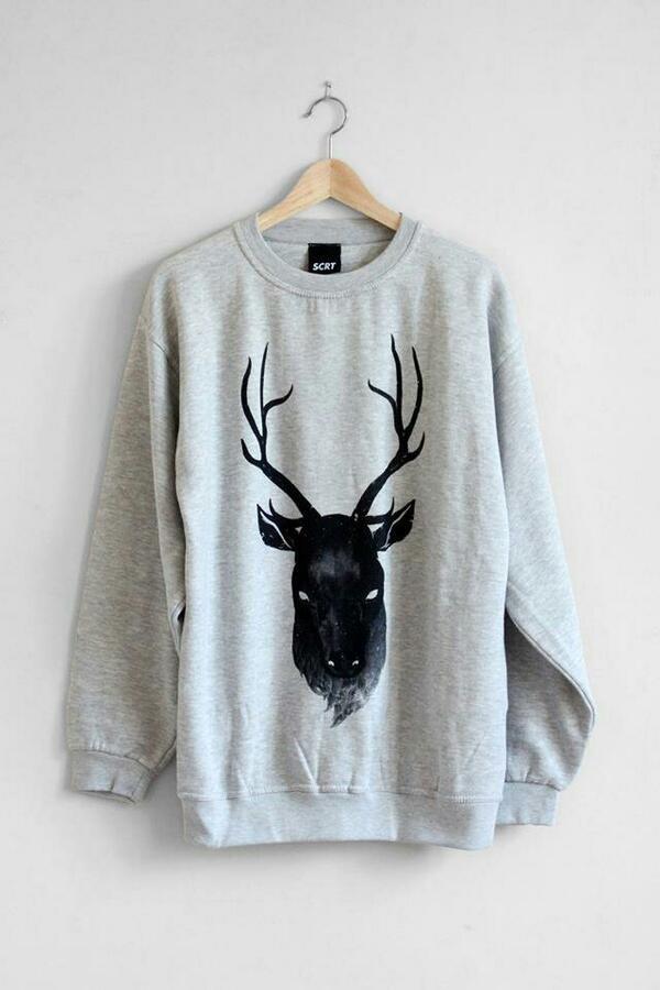 sweater sweatshirt jumpsuit jumper moose sweater grey black