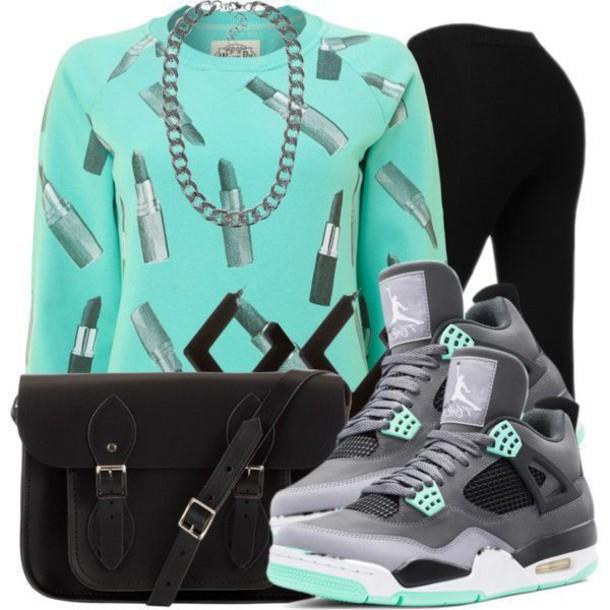 sweater purse jordans leggings lipstick bag jewels shirt shoes t-shirt top