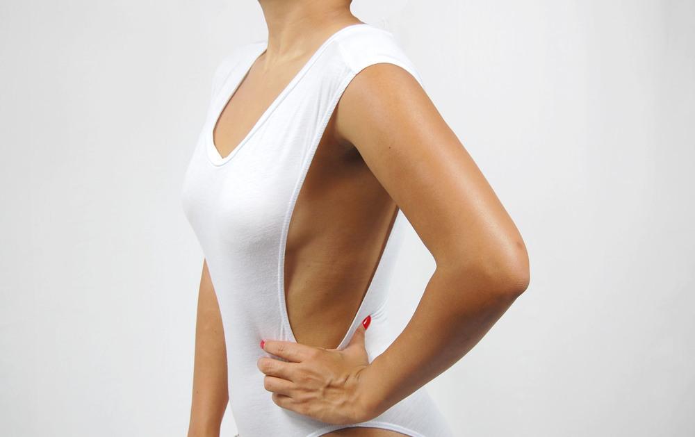white deep-cut sides bodysuit / Jen's Classy Boutique