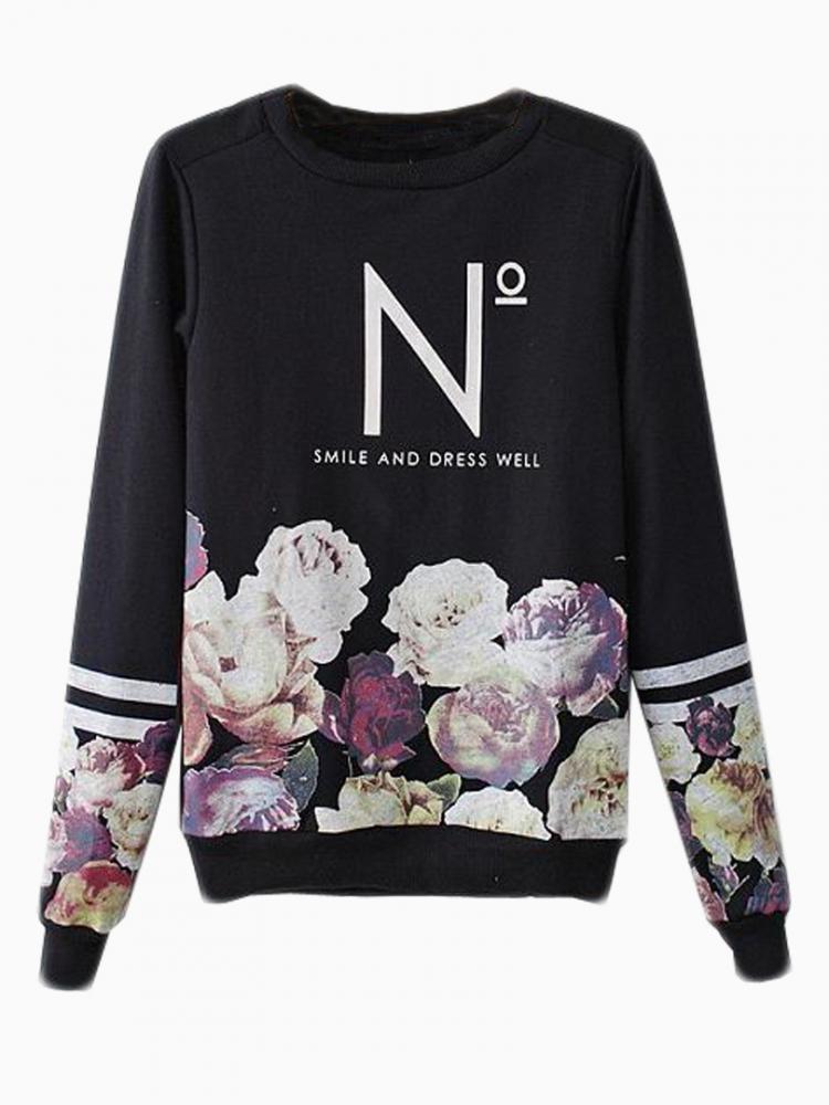 Black Floral Sweatshirt With N Pattern | Choies