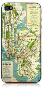 iPhone 4 or 4S Rubber Case with 1940's Vintage New York City Subway Map Design | eBay