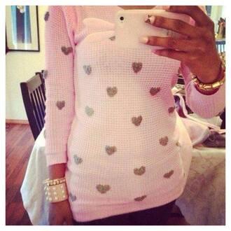 sweater heart dot polka dots sweatheart sweatshirt heart print heart print top women's t-shirt oversized white sweater dope swag
