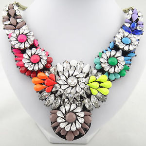 New Design Lady Rainbow Crystal Clavicle Chain Bib Statement Necklace Collar Hot   eBay