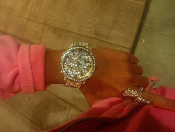 Jewels glitter gold watch swarovski gold sparkel diamonds