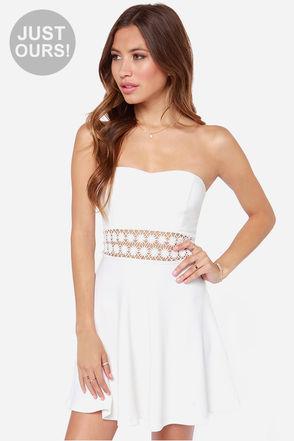 Sexy Ivory Dress - Strapless Dress - Lace Dress - $35.00