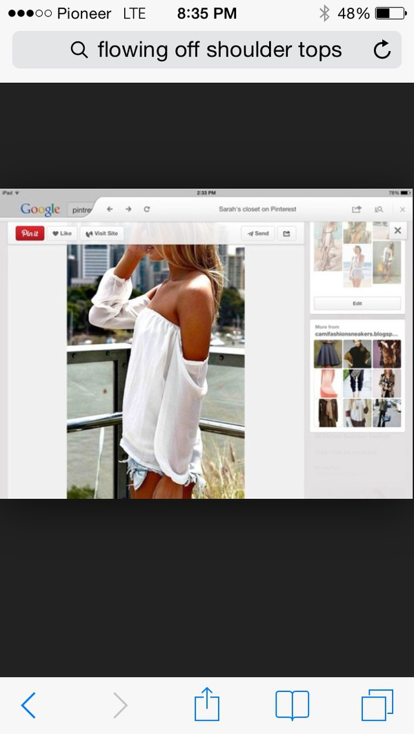 blouse white off shoulder with long sleeves