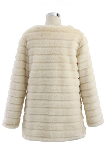 Quilted Faux Fur Coat in Cream  - Retro, Indie and Unique Fashion