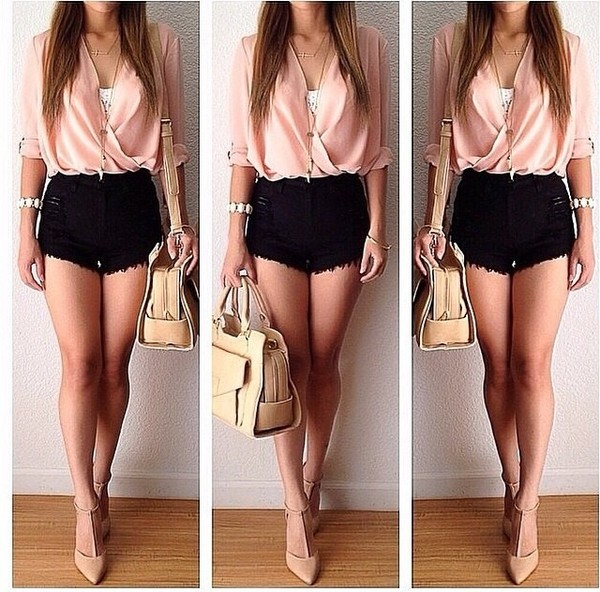 blouse pink summer summer outfits shoes women top please find his i want this lots shorts high waisted black shirt