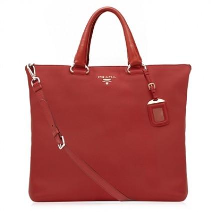 Prada Red Leather Tote Bag | Portero Luxury