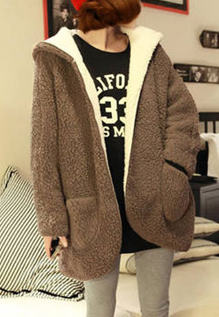 Open Front Slouchy Warm Reversible Hooded Jacket Coat [ghyxh36119] on Luulla
