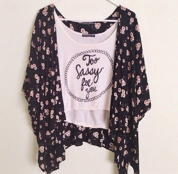 shirt sassy sassy top blouse floral cardigan black white too sassy for you crop top