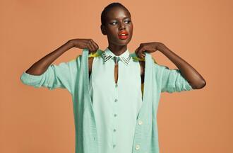 blouse dress sweater mint studded collar mint blouse studded collar blouse studded blouse cardigan mint cardigan colorblock colorblock cardigan