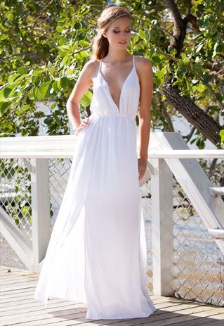White Backless Bikini Style Split Maxi Dress | Shop Fashion Avenue | ASOS Marketplace