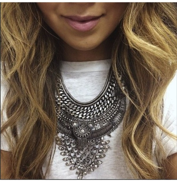 jewels statement statement necklace necklace jewelry silver necklace edgy fashion trendy