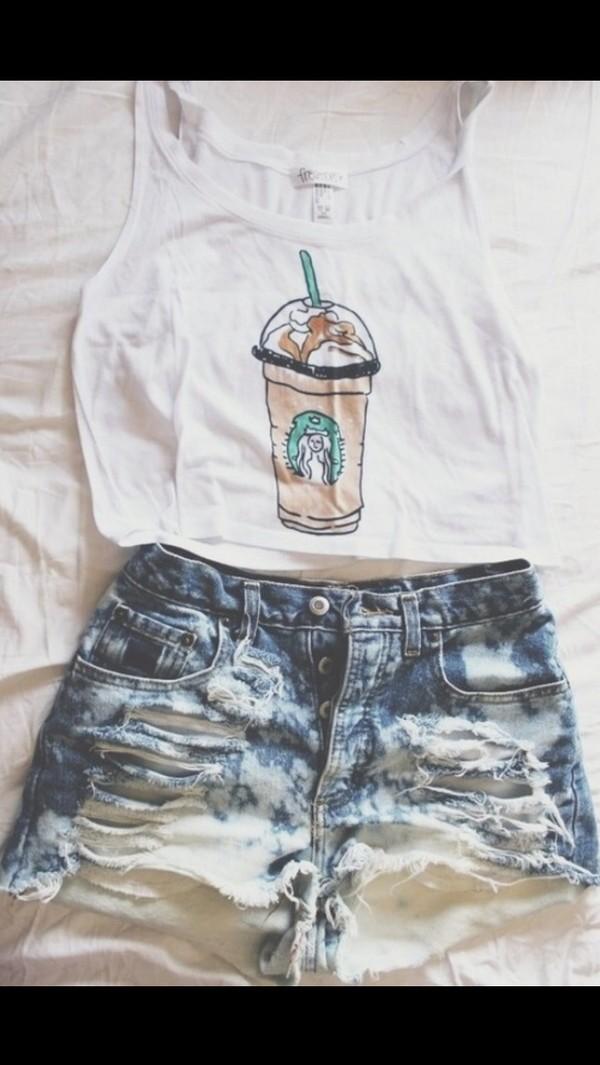 shorts shirt t-shirt starbucks coffee starbucks coffee starbucks coffee summer outfits cute white tank top crop tops