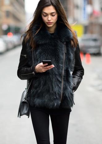 jacket fur leather black jacket asymmetrical jacket model fur trim coat zip fur collar zhenya katava runway fashion week street style