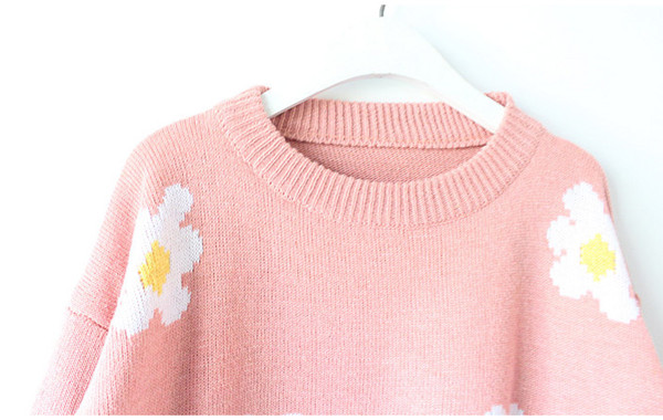 Blouse Black Women Girls Fashion Daisy Sunflower Short Sweater Shirt Coat Jumper   eBay
